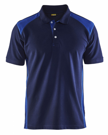 Blaklader 3324 Pique 2 Colour Polo Shirt (Navy Blue/Cornflower Blue)